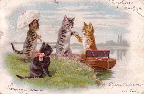 Коты старинные открытки