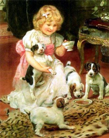 Очаровательные дети и собаки от Arthur John Elsley.