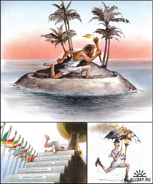 Олимпийский огонь от иллюстраторов Claude Serre, Michel Bridenne.