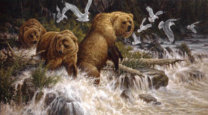 Дикий животный мир в живописи Larry Fanning.